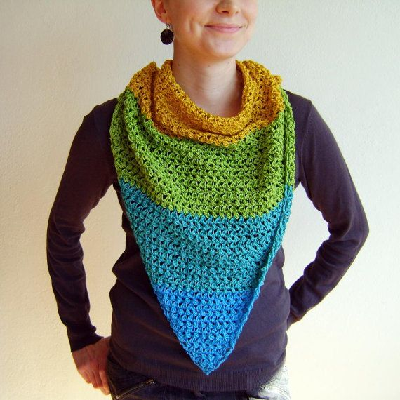 Yellow Mustard Blue Green Triangle Scarf / 100% Cotton Crochet Neckwarmer / Fall Winter Striped Neckwear / Fashion Accessories Gift Idea