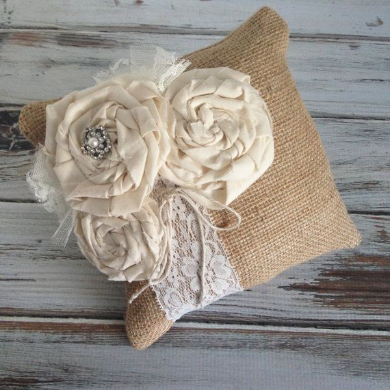Rustic wedding Burlap and lace ring bearer pillow by MoreThanLace