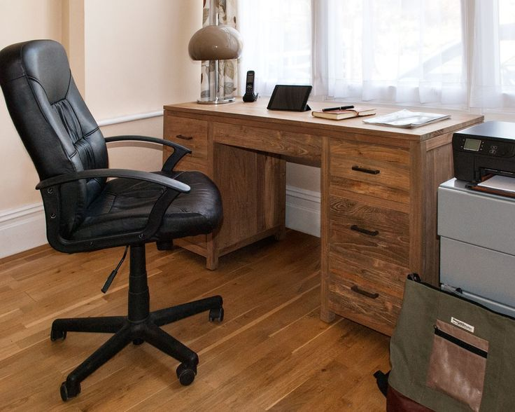 Indah Large Office Desk- This desk is bound to help you organise your office space! It makes a statement while still offering the practicalities of ample storage, with six drawers and a central paper drawer with a clever concealed handle. P