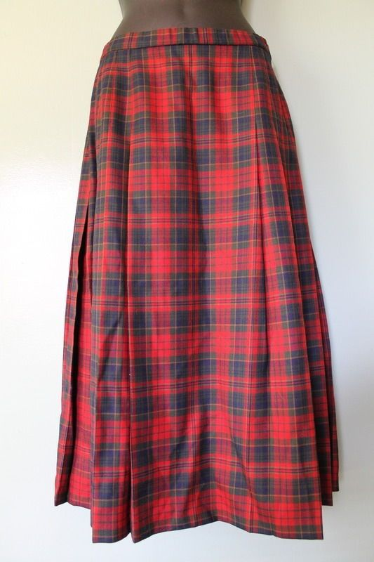 Vintage Pendleton Portland Oregon Red Tartan Plaid Long