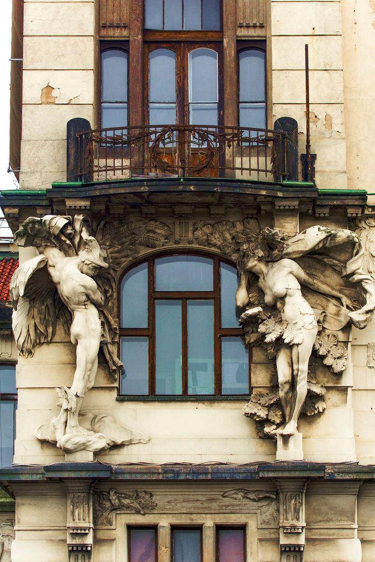 caprice A praha train Prague, Czech Republic; art nouveau at the central train station.