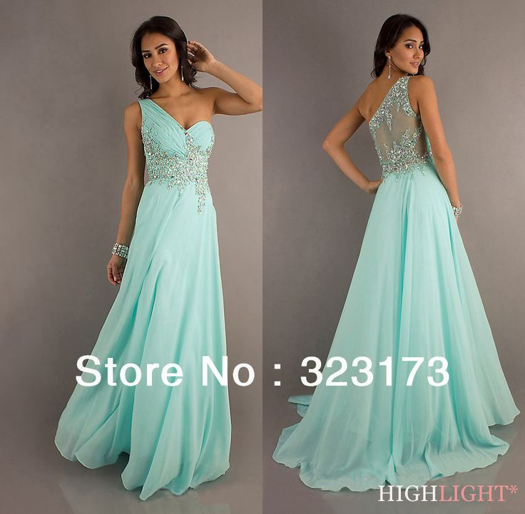 $79 In Stock Sweetheart Straight Floor Length Party Dresses Mint Green Bead One Shoulder Prom Dress