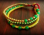 Bohemian Style Handmade Woven Red Green Yellow Waxed Cotton Green Agate Stone & Gold Brass Bead 3-Strand Layered Braided Wrist Band Bracelet