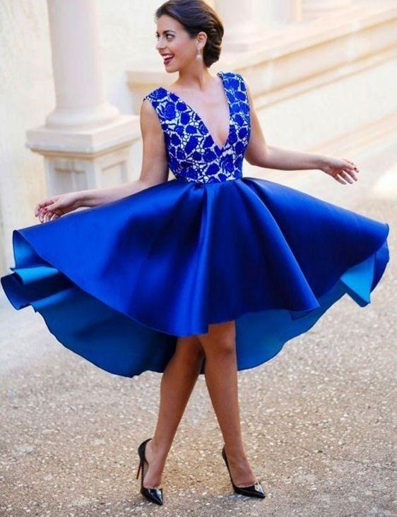129€ König Blau Kurze Cocktailkleider Mit Spitze V Ausschnitt A linie Abendkleider Partykleider