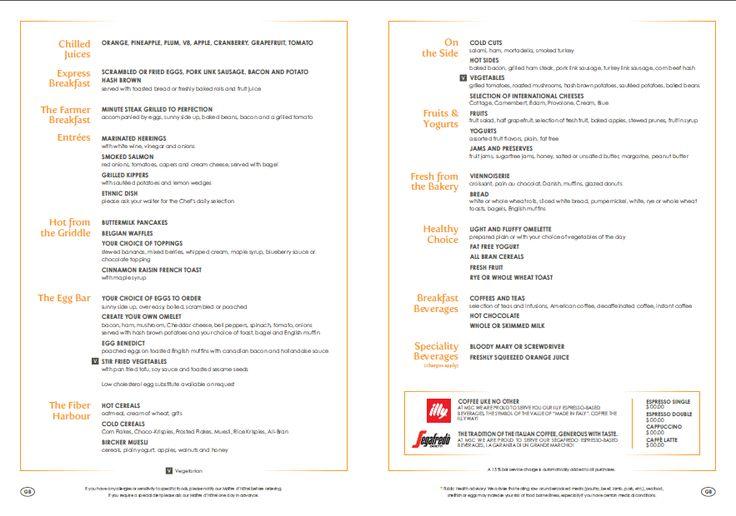Sample breakfast menu on #MSC Divina *Subject to change*