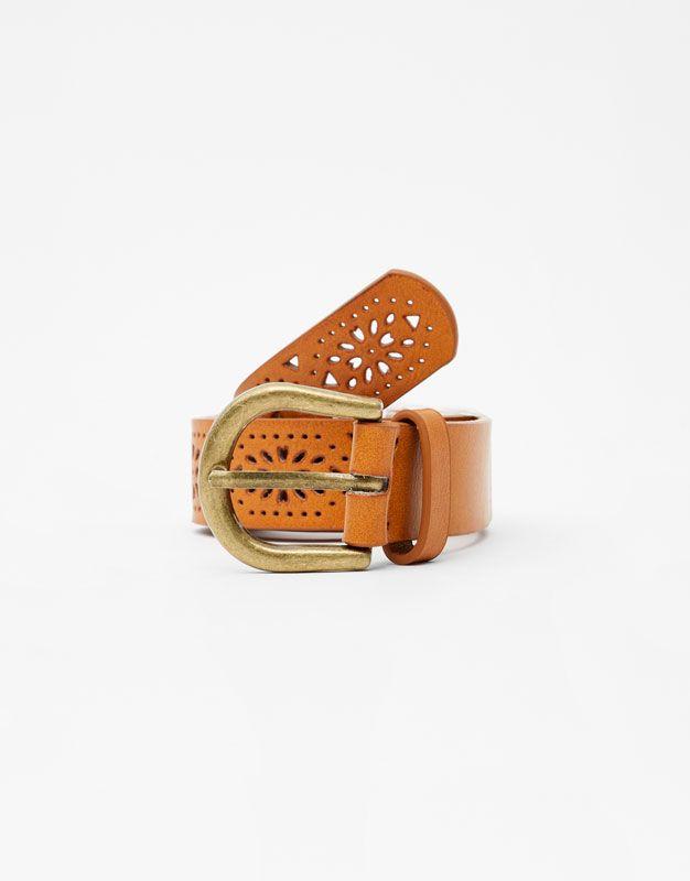 Pull Bear - mujer - accesorios - cinturones - cinturón troquelado - cuero -  05873300-V2018 d077239d92ec