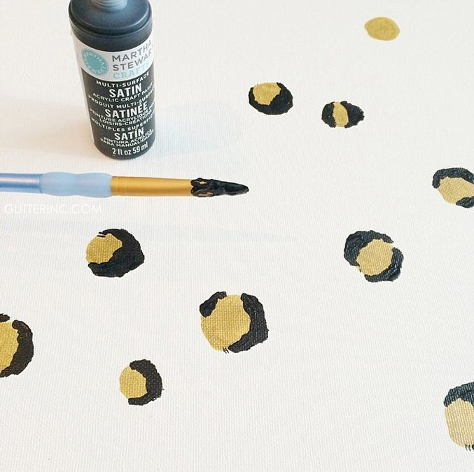 DIY leopard spots - how to paint a leopard pattern on canvas - glitterinc.com
