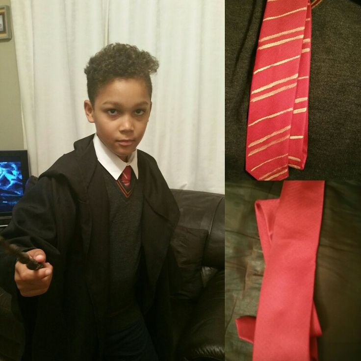 The last thing to make was the Gryffindor tie, now Jayden is ready for Harry Potter World!