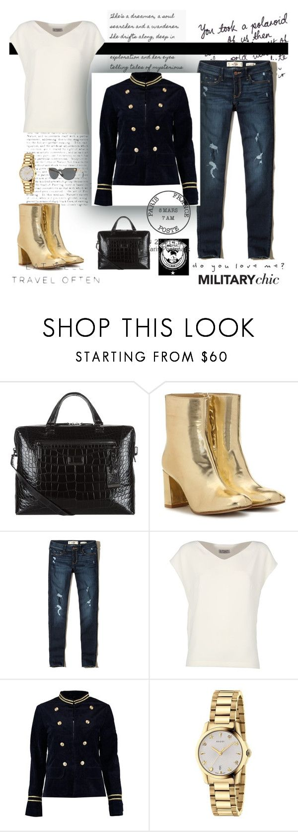 """military jacket"" by natyapshopper on Polyvore featuring moda, Tumi, Maryam Nassir Zadeh, Hollister Co., Alberto Biani, Boohoo, Gucci y WALL"