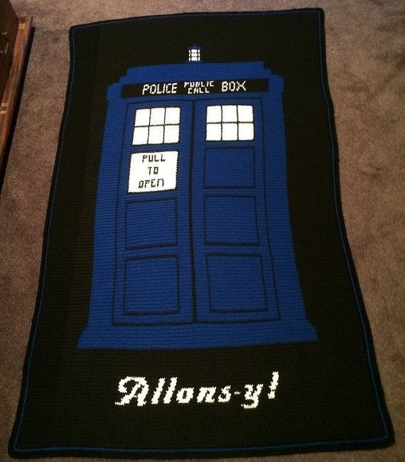 """Doctor Who TARDIS """"Allons-y!"""" crochet blanket - PATTERN ONLY"""