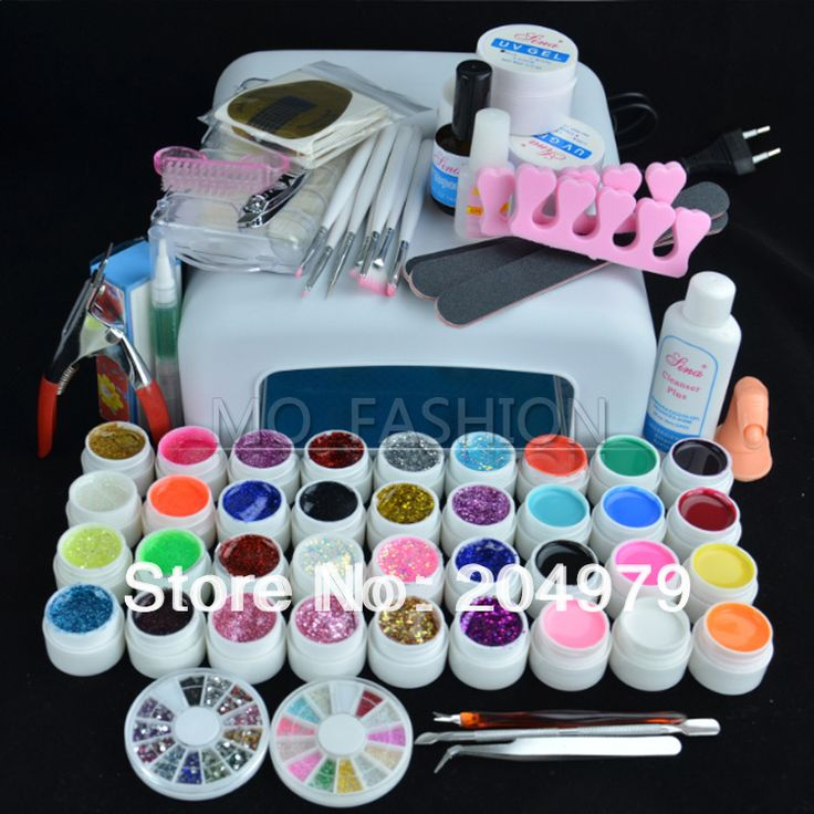 Free shipping hot sale Pro 36W UV GEL Lamp & 36 Color UV Gel Nail Art Tool Kits Sets U074 US $79.00