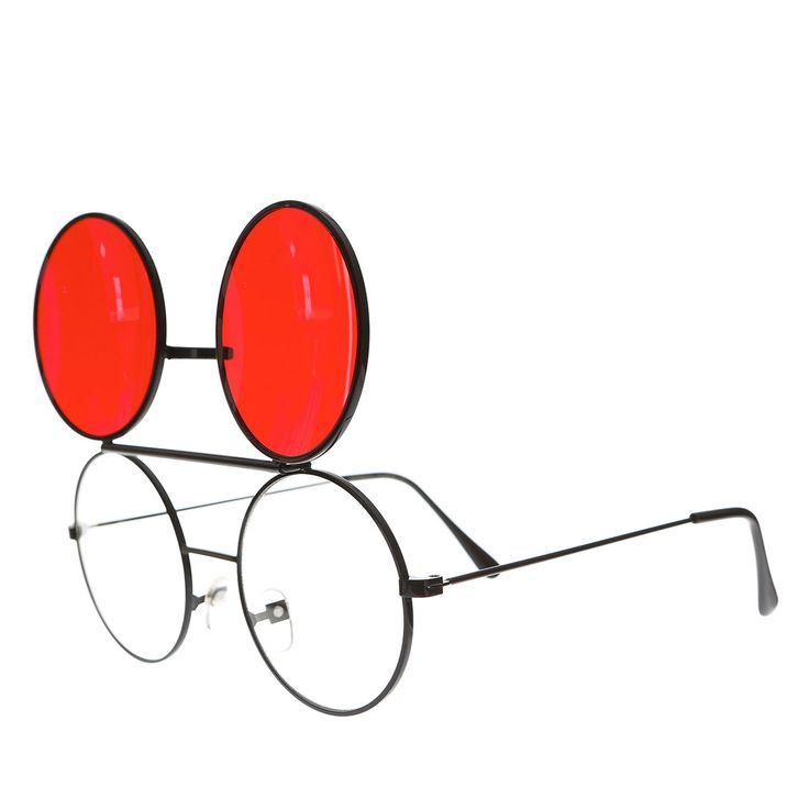 Dwayne Wayne Retro Round Black Flip Up Glasses with Red Tinted Lens - Flippy
