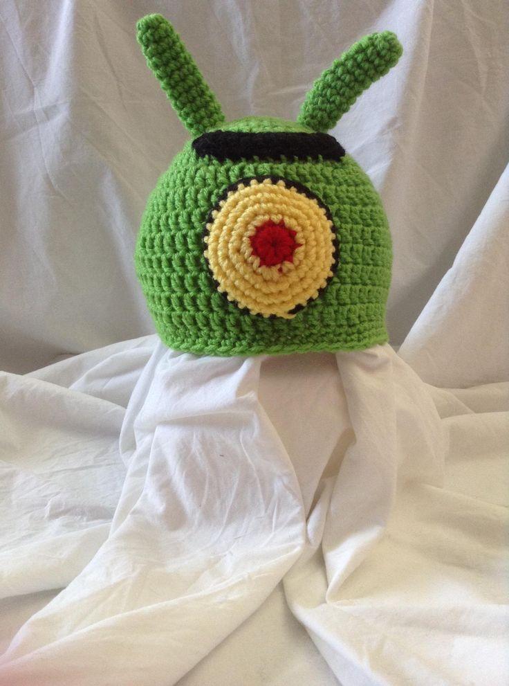 Plankton Spongebob Squarepants Crochet animal character baby child hat beanie https://www.facebook.com/CrochetedHatsbyMarie
