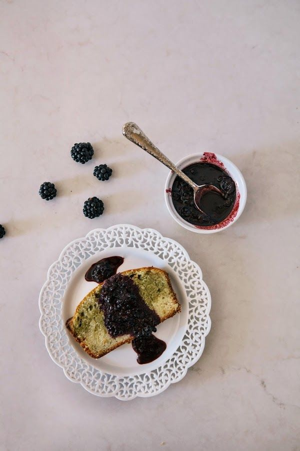 Hummingbird High - Matcha Marble Pound Cake with Blackberry Brown Sugar Compote (try in bundt pan!)