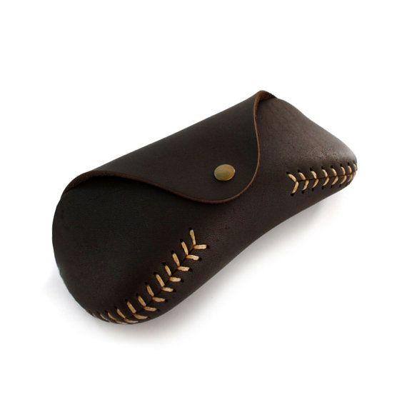 Glasses Case Sunglasses Leather case baseball stitch
