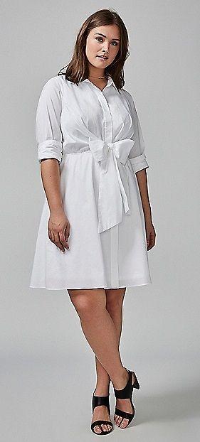 Plus Size Tie-Waist Shirtdress