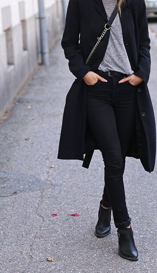 basics: grey shirt, black jeans, boots added: coat