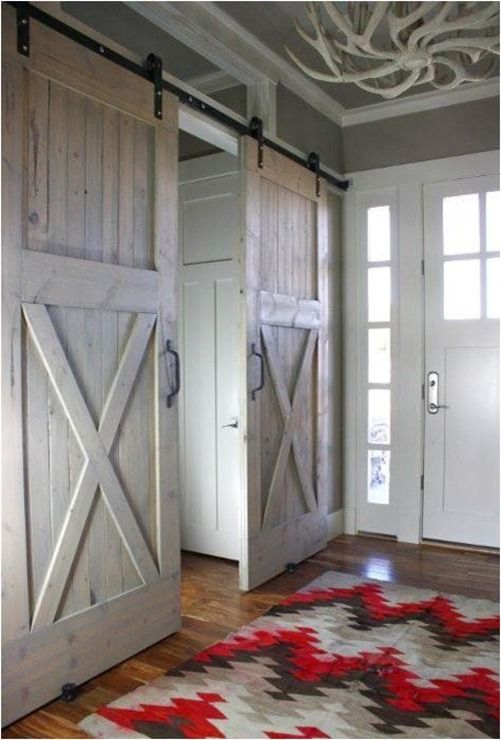 barn doors to close off office just inside entryway