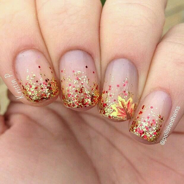 The Polish Playground Glittery Autumn Leaf Nail Art: Nude Nails With Red-orange, Brown & Gold Sparkle Glitter