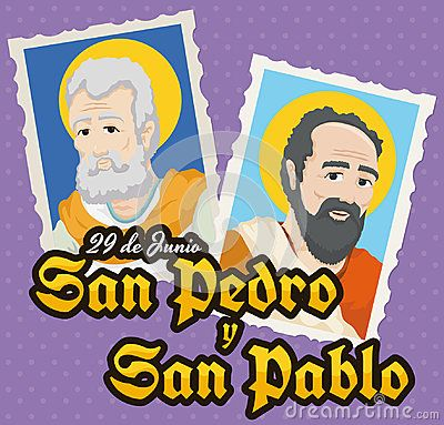 Poster with a pair of stamps with St. Peter and St. Paul written in Spanish portraits for the Solemnity event of those saints in June 29.