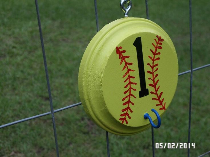 "Softball helmet holders! Softball Helmet Holders... Round wood piece, closed screw eye hook, one ""s"" hook, and one open screw eye hook... Paint, install hardware, hang in dugout each game to keep dugouts organized!"