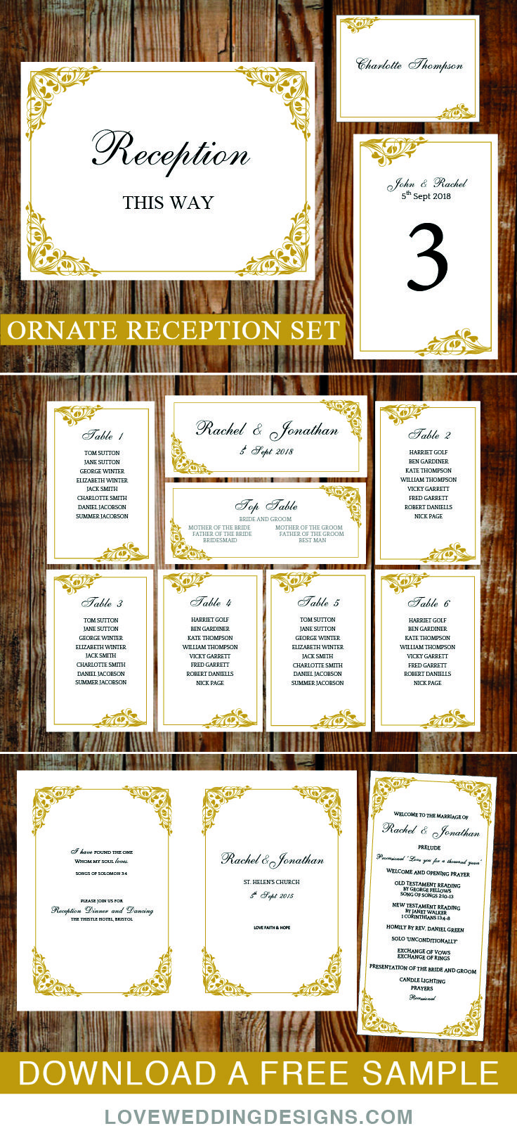 59 best seating charts and place cards images on pinterest carte diy wedding template collection flora gold this reception collection has junglespirit Images