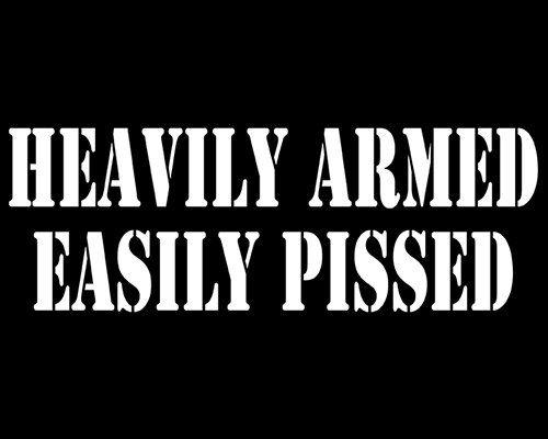Heavily Armed Easily Pissed Decal, Car Decal, Warning Sticker, 2nd Amendment, Laptop Sticker, Pro Gun Decal, Vinyl Decal, Car Stickers