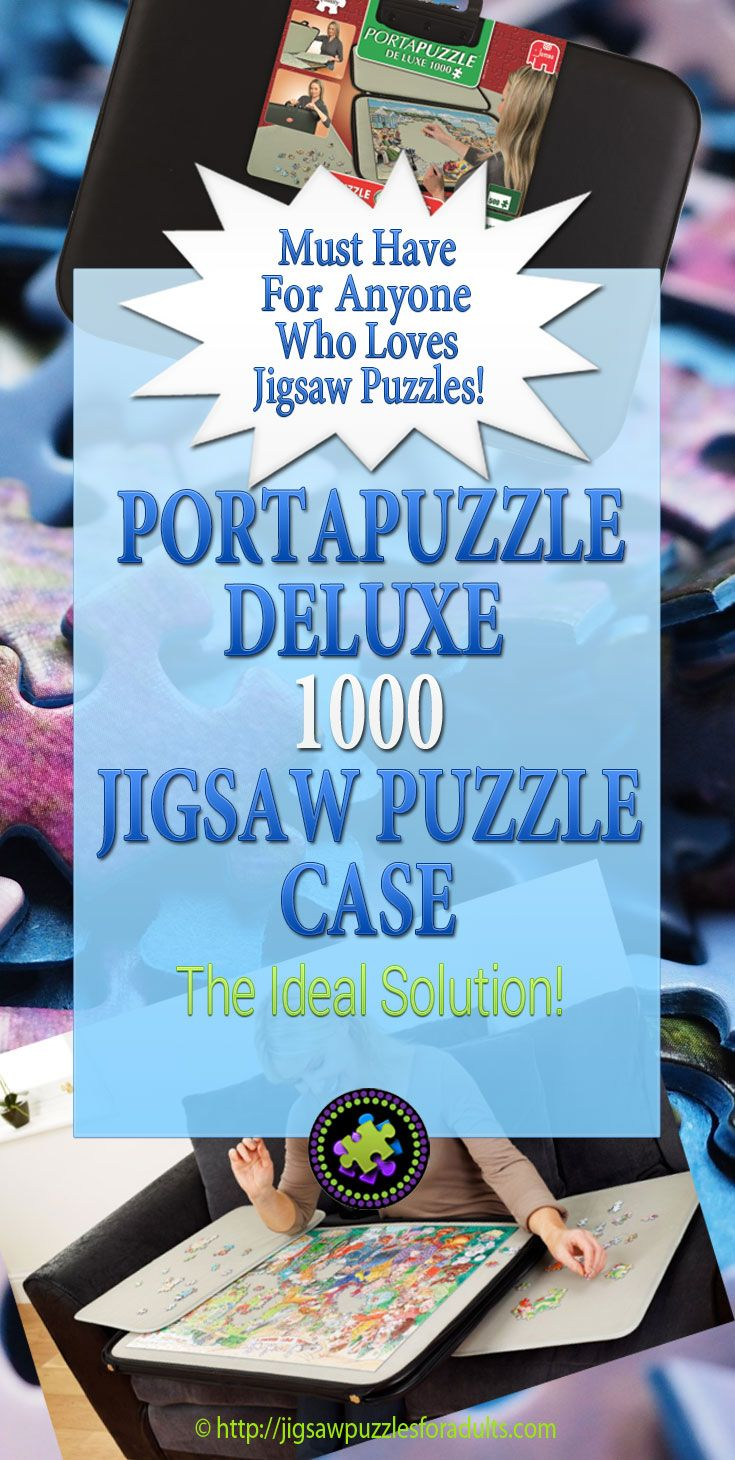 LOVE The Portapuzzle Deluxe 1000 jigsaw puzzle carrying storage board and case that is beautifully constructed and has a durable, external leather-look finish with a sturdy handle and zipper. Perfect for the avid puzzler on the GO!