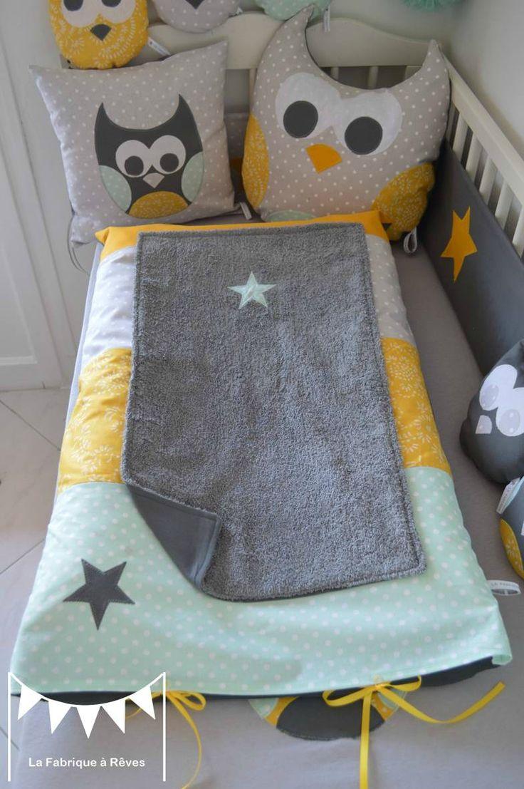 housse matelas à langer étoiles jaune gris vert amande vert eau - décoration chambre bébé hibou chouette jaune gris vert amande vert eau étoiles