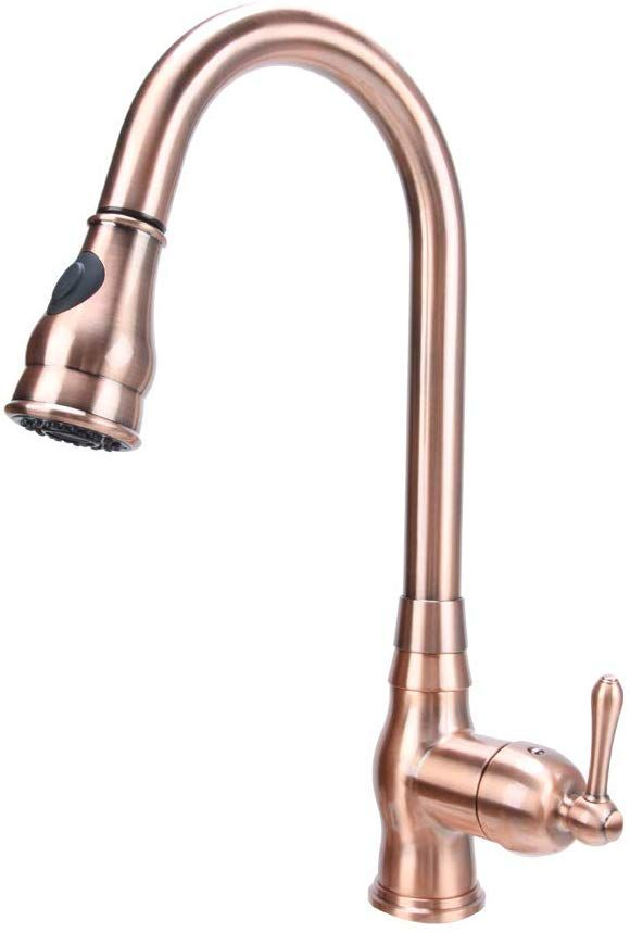 Copper Single Hole Pull Down Sprayer Copper Kitchen Sink Faucet Single Handle Five Years Warranty Aki Kitchen Sink Faucets Copper Kitchen Copper Kitchen Sink