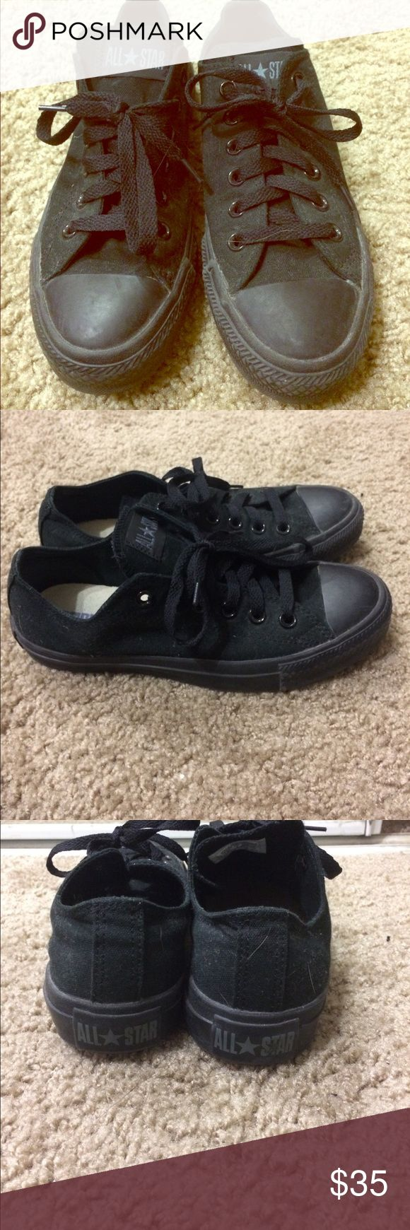 Black converse shoes Been worn a couple times and look brand new. All black converse. Converse Shoes Sneakers