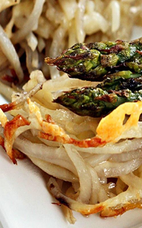 Gruyere, Asparagus and Spiralized Potato Noodle Casserole