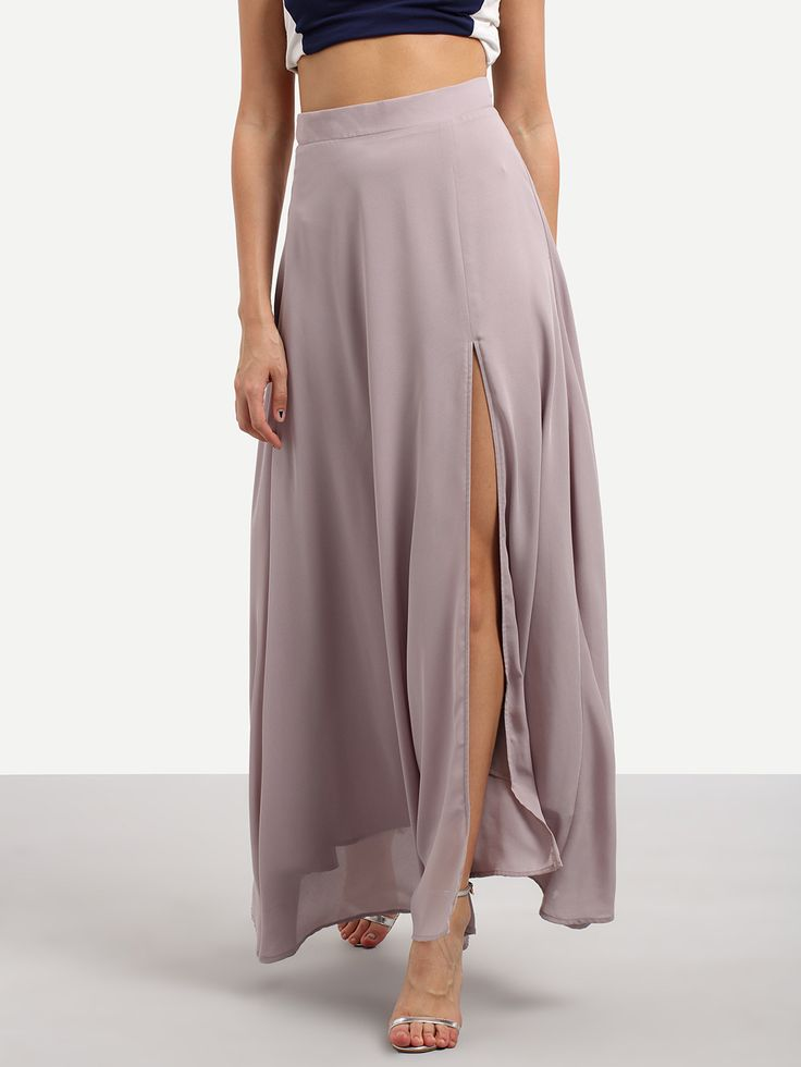 Shop Purple Split Chiffon Maxi Skirt online. SheIn offers Purple Split Chiffon Maxi Skirt & more to fit your fashionable needs.