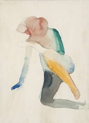 "Untitled, 1961. Nathan Oliveira (1928-2010)  was an American painter, printmaker,  sculptor. Although often associated with the Bay Area Figurative Movement, he felt that his paintings had been strongly influenced by Kooning,  Giacometti and  Bacon. He once stated: ""I'm not part of the avant-garde. I'm part of the garde that comes afterward, assimilates, consolidates, refines."""