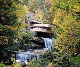 One of architect Frank Lloyd Wright's most famous homes, Fallingwater, is in Mill Run, Pennsylvania.