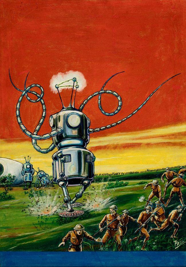 """Frank R. Paul  """"The Robot Aliens,"""" Wonder Stories illustration, February 1935 cover"""