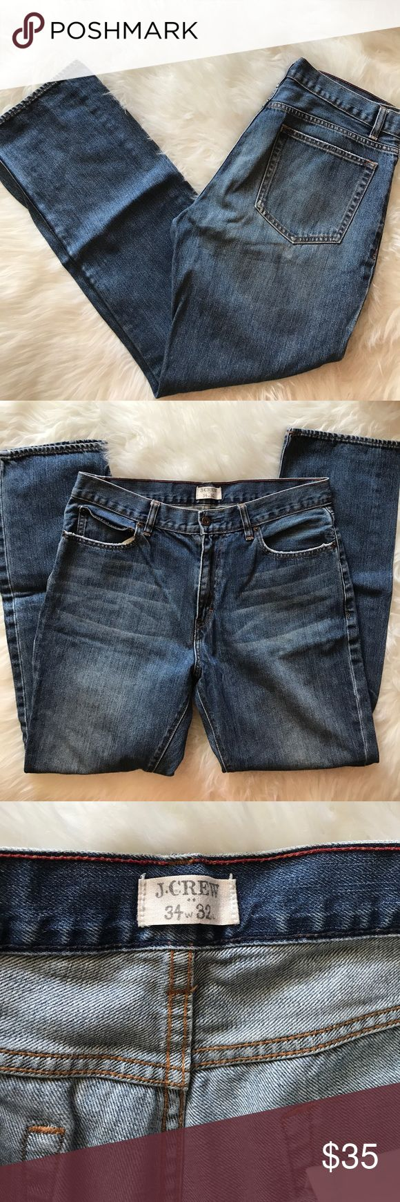 J Crew Men Straight Cut Jeans sz 34 x 32 In excellent condition Straight fit jeans by J Crew. Size 34. Inseam 32. J. Crew Jeans Straight
