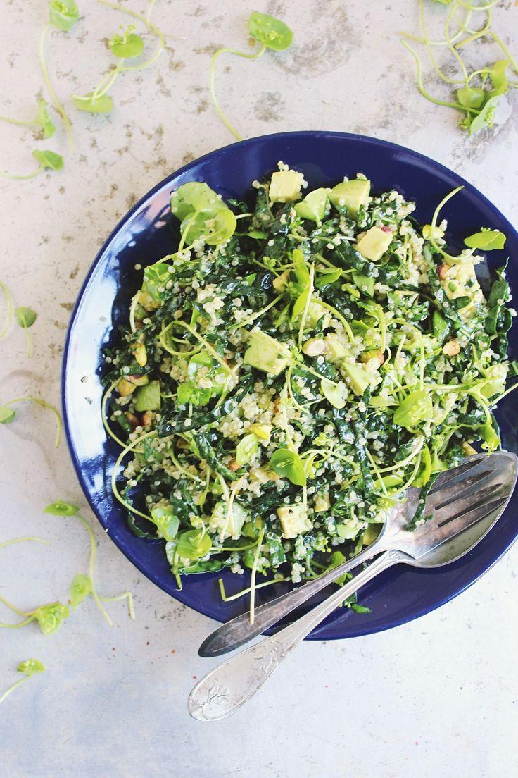 Super Green Quinoa Salad with Fresh Basil + Pistachios