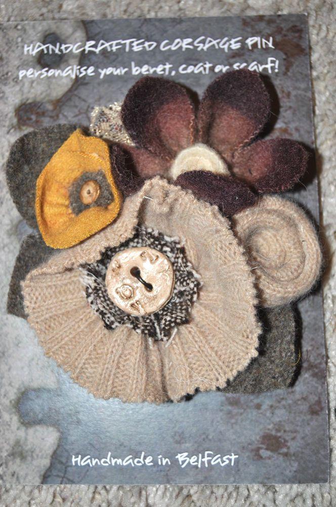 yellow orange flower brooch coat wrap hat pin corsage vintage wool tweed poppy
