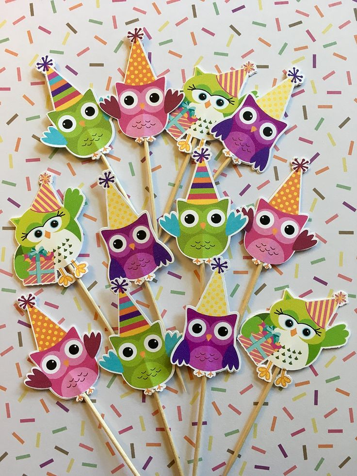 Owl cupcake toppers, Party owl cupcake toppers, Owl birthday decorations, Owl themed decor. These cute little owls have their party hats on and are ready to make sure your celebration is a hoot! This listing is for a set of 12 party owl themed cupcake toppers as shown in the attached pictures. These toppers have a solid white backing and are made of premium cardstock. Aside from cupcakes, try using them in appetizers, mini desserts, cheese trays and more!.