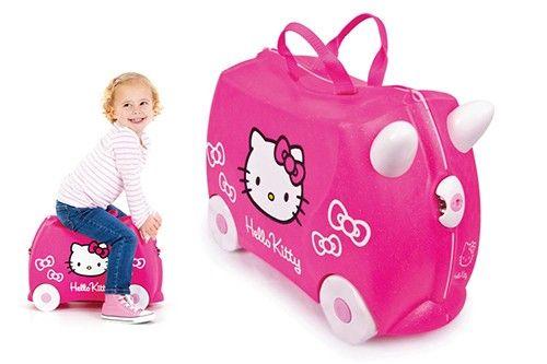 Trunki 9220003 - Reiskoffer Hello Kitty. Ideaal als koffer voor de kinderen door de wieltjes. Ook als kruk en rustplek te gebruiken.