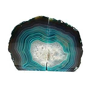 Teal Agate Bookend Pair - 1 to 3 lb -Geode Bookend with Rock Paradise Exclusive COA http://contentmo.com/products-for-book-lovers/2017/0429c