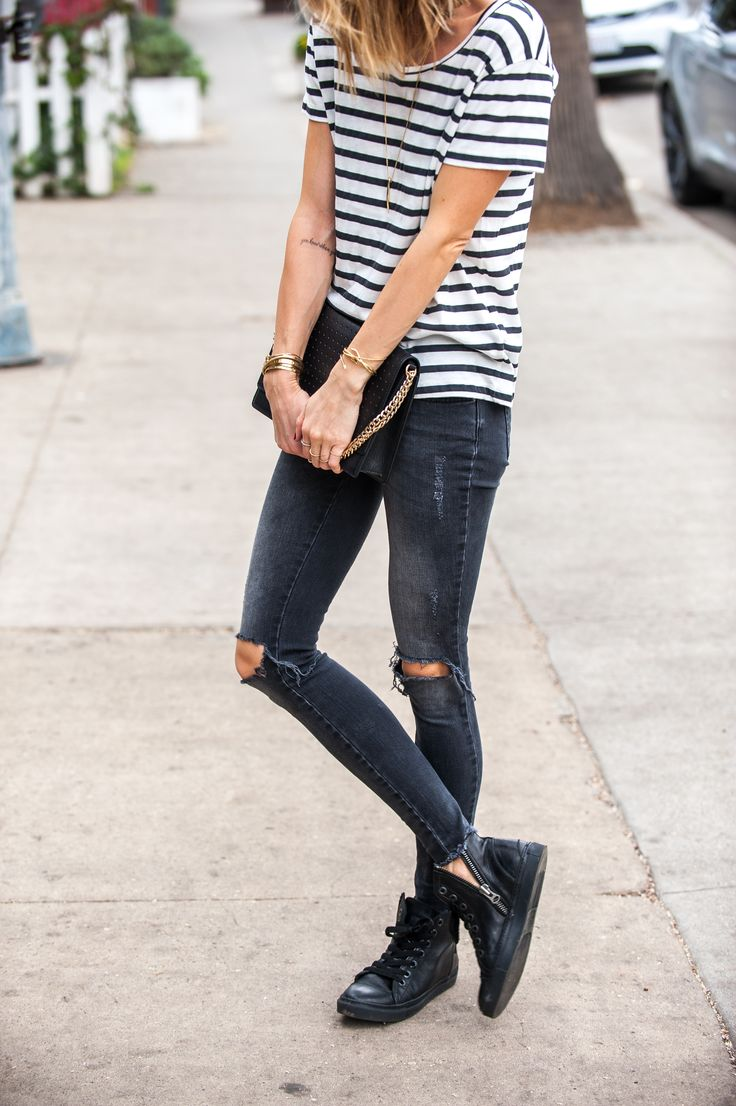 Why black ripped skinny jeans are your next wardrobe staple & 30 ways to  wear them faded breton tshirt sneakers