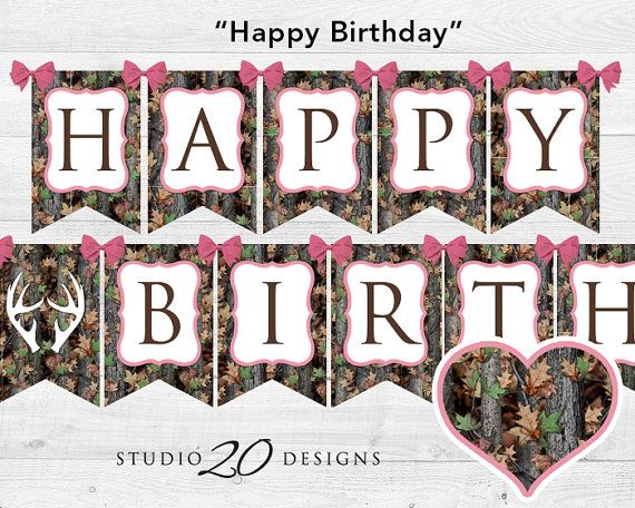 Instant Download Pink Camo Happy Birthday by Studio20Designs