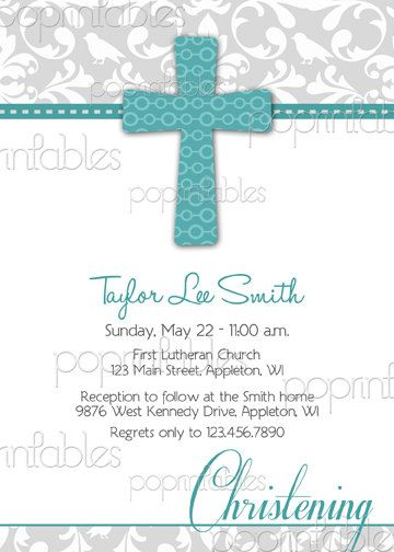 Baptism or First Communion Invitation Damask Grey Turquoise - DIY PRINTABLE. $12.00, via Etsy.
