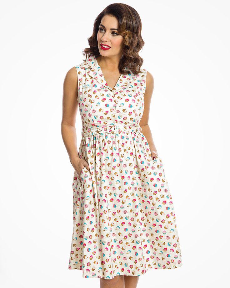 'Matilda' Cream Cupcake Print Rockabilly Shirt Dress