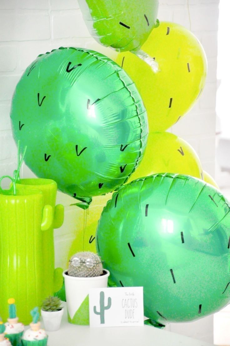 Cactus balloons at a cactus themed desert bloom baby shower by kara allen kara's party ideas for oriental trading blog