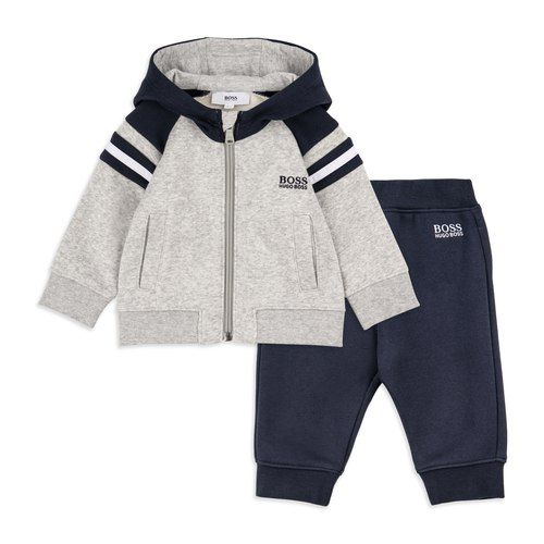 Baby Boys Contrast Stripe Tracksuit Grey By Hugo Boss