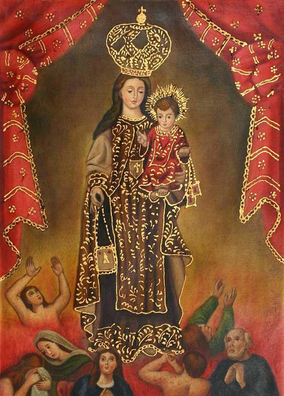 Peruvian Colonial Replica Painting - Virgin of Mount Carmel | NOVICA