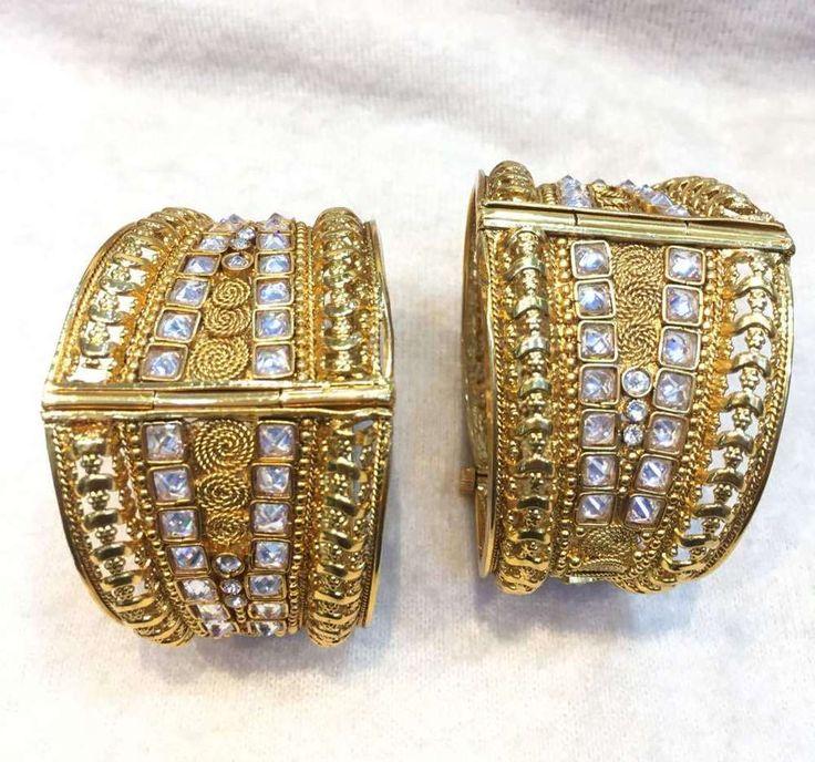Stunning Indian Bangles Bracelet Women Kada Set Goldtone Fashion Jewelry 2.6/8/4 #Handmade #Bangle